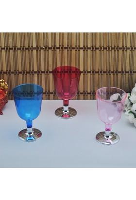 Tahtakale Toptancısı Şarap Kadehi Plastik Komple Renkli Gümüş Ayaklı (6 Adet)