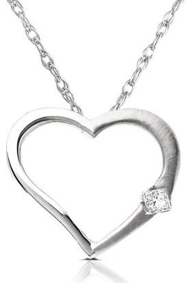 Sare Pırlanta Gümüş Kalp Kolye