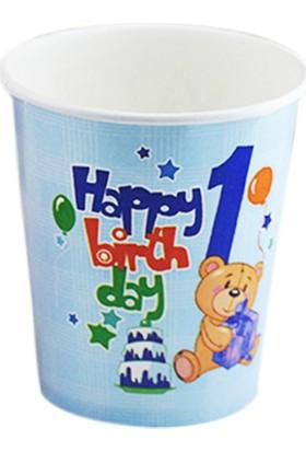 Tahtakale Toptancısı Bardak Karton 1 Yaş Happy Birthday Ayıcıklı (8 Adet)