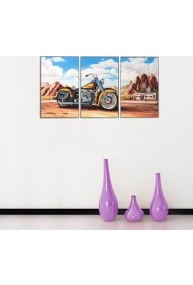 3 Parça Retro Motorsiklet Kanvas Tablo 50x105 cm