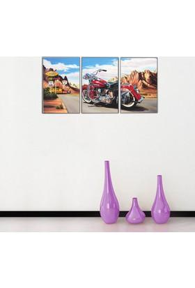3 Parça Retro Motorsiklet 1 Kanvas Tablo 50x105 cm