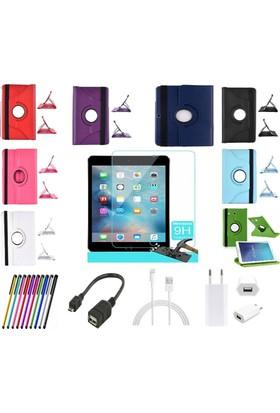 İdealtrend Apple İpad Mini 4 360 Dönerli Tablet Kılıf + Film + Kalem + Otg Kablo + Şarj Kablosu + Adaptör