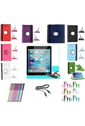 İdealtrend Samsung Tab T350 360 Dönerli Tablet Kılıf + 9H Kırılmaz Cam + Kalem + Aux Kablo + Kulaklık