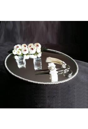 Alisveristime Söz, Nişan Tepsisi (Çiçekli Aynalı Oval Model) 30 cm