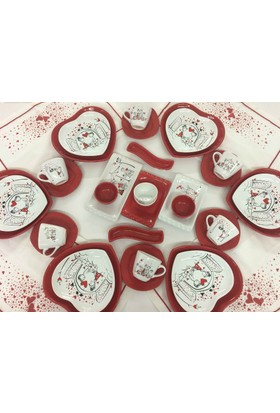 Keramika Peri Masalı Kırmızı Kalp 6 Kişilik Kahvaltı Takımı