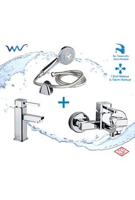 Wusluk Frame Banyo ve Lavabo Bataryası Takımı (Duş Seti Hediyeli)