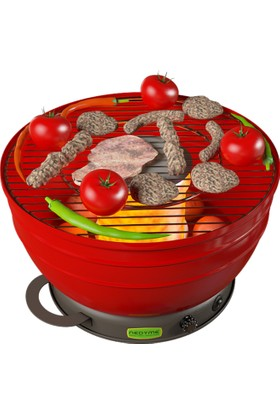 Nedyme Dumansız Kömürlü Barbekü - Mangal - Kırmızı