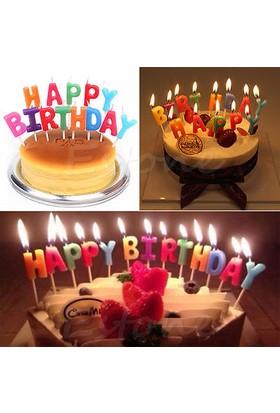 Happy Birthday 13 Parça Doğum Günü Pasta Süsü Mum