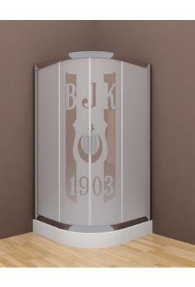 S'Tina 80X80 Cm Oval Duş Teknesi + 4 Mm Beşiktaş Desenli Temperli Cam Duşakabin