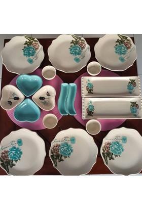 Keramika 6 Kişilik 18 Parça Gül Trend Kahvaltı Takımı