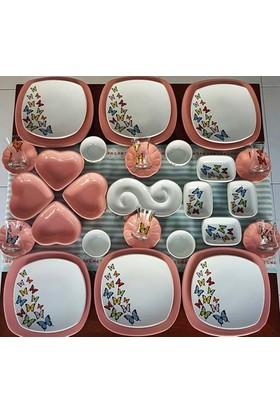 Keramika 37 Parça 6 Kişilik Butterfly Kahvaltı Takımı