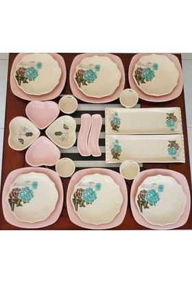 Keramika 24 Parça 6 Kişilik Pembe Gül Trend Kahvaltı Takımı