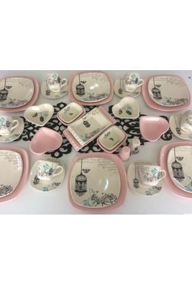 Keramika 36 Parça 6 Kişilik Retro Açik Pembe Kahvaltı Takımı