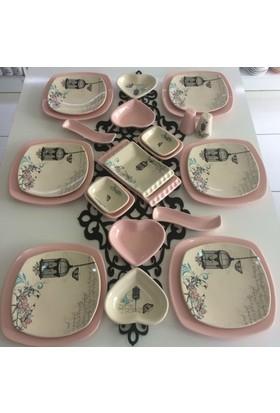 Keramika 26 Parça 6 Kişilik Retro Açik Pembe Kahvaltı Takımı