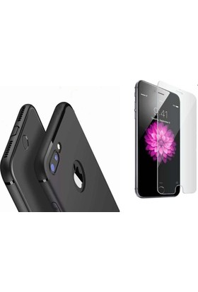 Teknoarea Apple iPhone 7 Kamera Korumalı İnce Mat Silikon Kılıf + cam