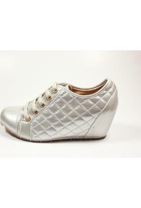 Capriss 11-700 Gümüş Bayan Gizli Dolgu Topuk Ayakkabı Kopya
