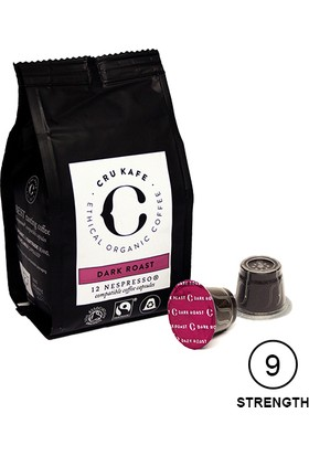 Cru Kafe %100 Organik Nespresso® Uyumlu Dark Roast Kapsül Kahve, 12 kapsül