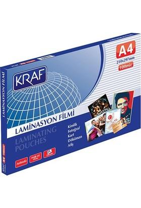 Kraf 100 Micron A4 Parlak Laminasyon Filmi 100'lü