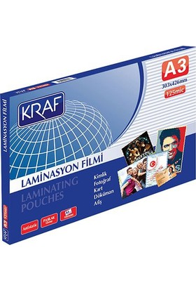 Kraf 125 Micron A3 Parlak Laminasyon Filmi 100'lü