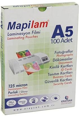 Mapilam 125 Micron A5 216 x 155 Mm Parlak Laminasyon Filmi 100'lü