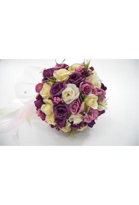 Çeyizci Gelin Buketi Mürdüm Çiçekli Şakayık Gelin Tokası Ve Yaka Çiçeği