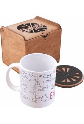Coccomell 5214106 El Yapımı Ahşap Kutusunda Seramik Bardak Ve Bardak Altlığı - Yükesek Matematik