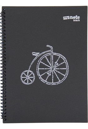 My Note Black Spiralli Bisiklet Desenli A4 60 Siyah Yaprak Çizgisiz Defter