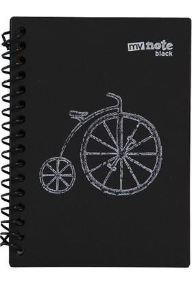 My Note Black Spiralli Bisiklet Desenli A6 60 Siyah Yaprak Çizgisiz Defter