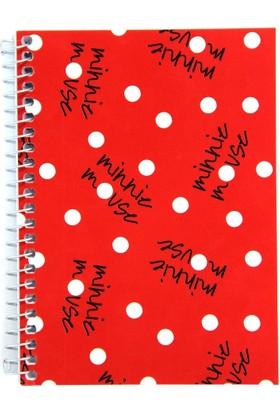 My Note Minnie Mouse Yazılı Kırmızı Kapaklı Spiralli A6 80 Yp Çizgili Defter