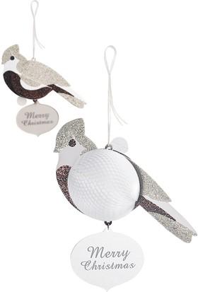 Wooderfullife 9263106-Süs Dekorlu Yılbaşı Kart - Gümüş Kuş