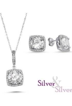 Silver & Silver Zirkon 5 ct Zarif Kolye Kupe