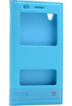 Kny Huawei Ascend Y6-2 Kılıf Gizli Mıknatıslı Pencereli +Cam