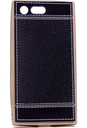 Kny Sony Xperia X Compact Kılıf Deri Desenli Laser Silikon +Cam