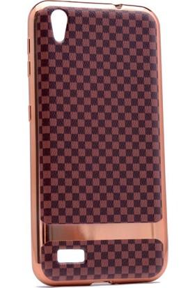 Kny Vestel Venus V3-5010 Kılıf Deri Görünümlü Ekose Desenli Silikon +Cam