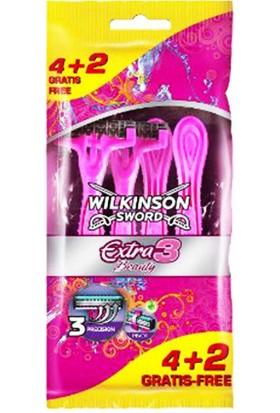 Wilkinson Sword Extra 3 Beauty - Kullan At Tıraş Bıçağı 4+2 Avantaj Paketi