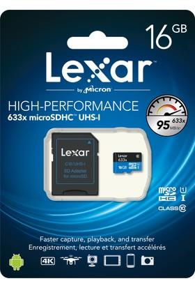 Lexar 16GB microSDHC UHS-I 633X 95mb/sn (C10) U1 Hafıza Kartı