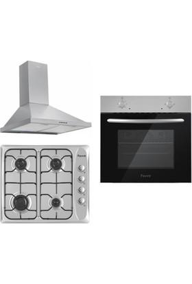 Ferre Delhi Inox Çelik Ankastre Set (2000 Çelik Fırın + 440CE Inox Ocak + FMP600 Çelik Davlumbaz)