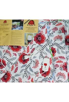 Elektrikli Battaniye Çift Kişilik Çağlar Kırmızı