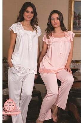 Bone Nevrüllü Lohusa Pijama Takım B-4118 - Ekru