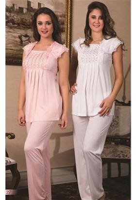 Bone Lohusa Taşlı Pijama Takım B-4127 - Ekru