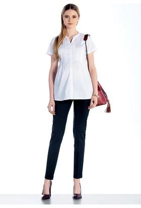 Ebru Basic Hamile Gömlek E-3191 - Beyaz