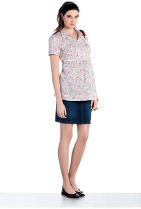 Ebru Çiçekli Hamile Gömlek E-3197 - Pembe