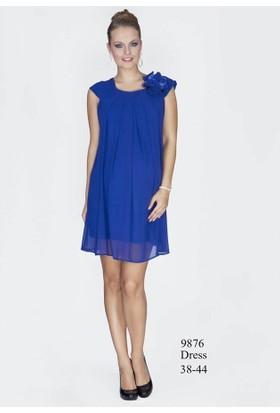 Entarim Hamile Şifon Elbise 9876 - Pudra