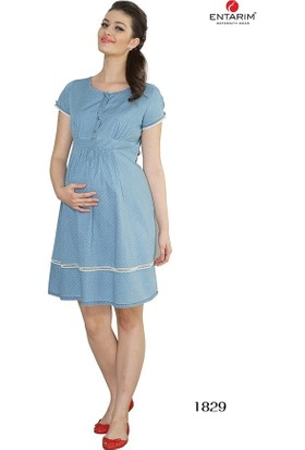 Entarim - More Yonca Hamile Elbise E-1829 - Mavi