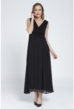 Gör&Sin Uzun Şifon Hamile Abiye Elbise 8112 - Siyah