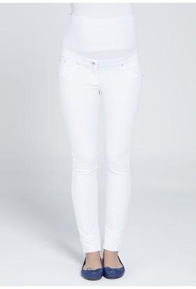 Gör&Sin Dar Paça Hamile Kanvas Pantalon 3420P - Beyaz