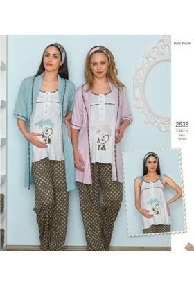 Haluk Bayram Baha Lohusa 3'lü Pijama Takım 2535 - Pembe
