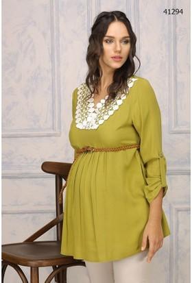 Livaa Hamile Koton Bluz 41294 - Fıstık Yeşili