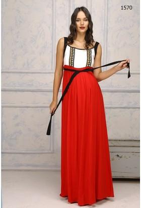 Livaa Askılı Uzun Hamile Elbise 1570 - Kırmızı