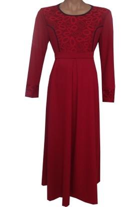 Livaa Desenli Çelik Örme Uzun Hamile Elbise 1924 - Kırmızı